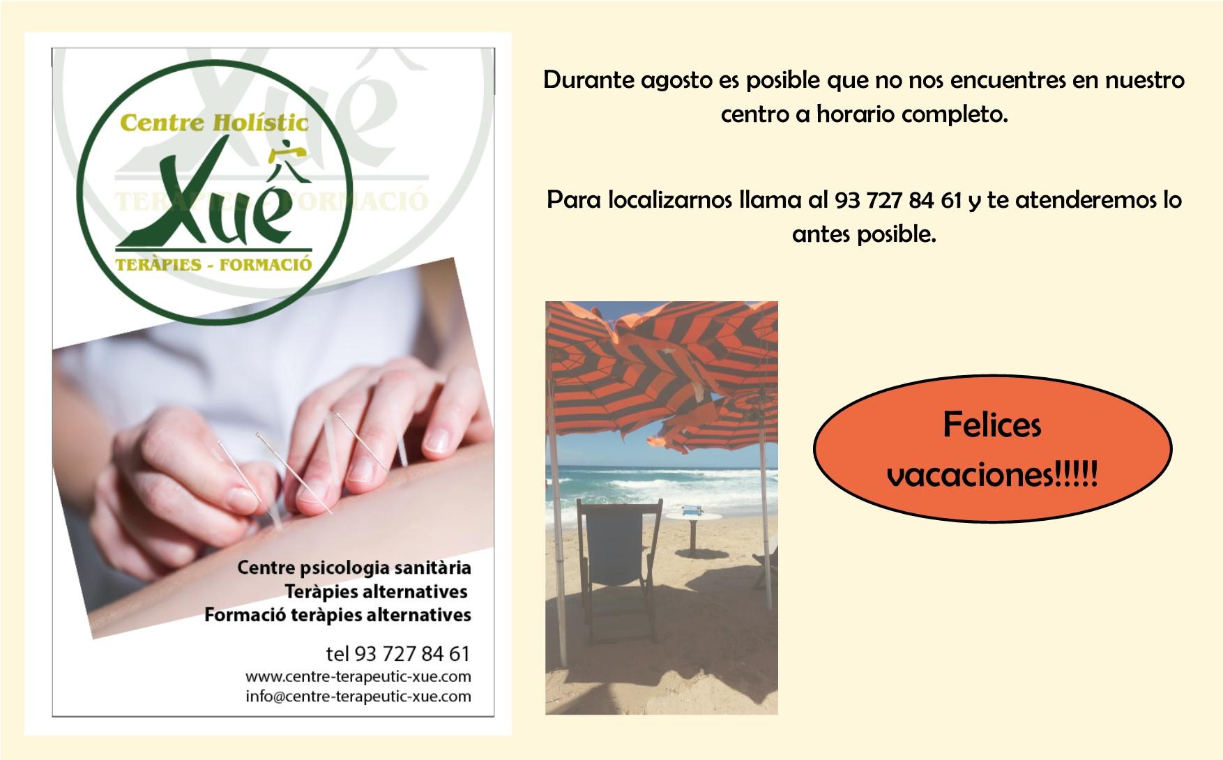 horario en agosto 2017 en Centre Terapeutic Xue Sabadell