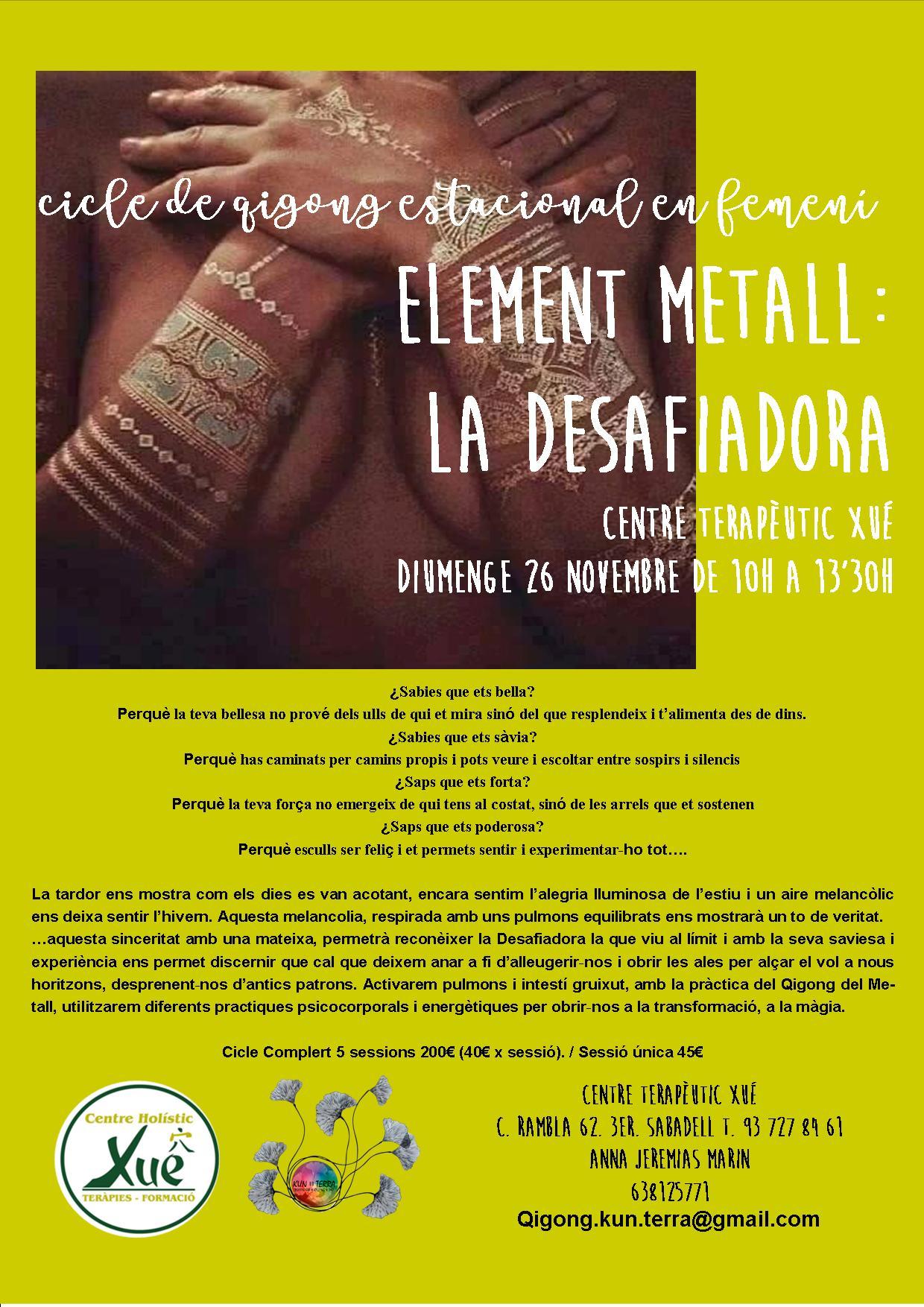 qigong estacional femenino, elemento metal