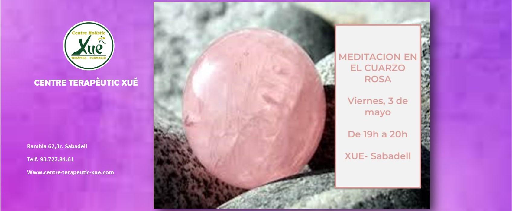 Meditación guiada en cuarzo rosa. Día 3 de mayo a las 19h.